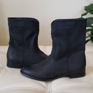 FRYE Cara Roper Short Leather Boots, Black